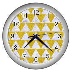 Triangle2 White Marble & Yellow Denim Wall Clocks (silver)  by trendistuff