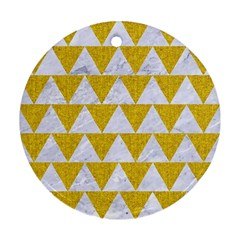 Triangle2 White Marble & Yellow Denim Round Ornament (two Sides) by trendistuff