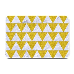 Triangle2 White Marble & Yellow Denim Small Doormat  by trendistuff