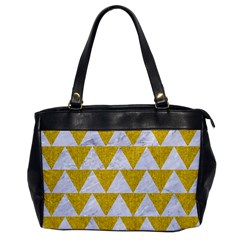 Triangle2 White Marble & Yellow Denim Office Handbags by trendistuff