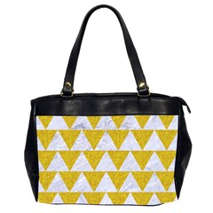 Triangle2 White Marble & Yellow Denim Office Handbags (2 Sides)  by trendistuff
