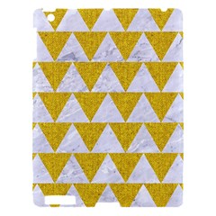 Triangle2 White Marble & Yellow Denim Apple Ipad 3/4 Hardshell Case by trendistuff