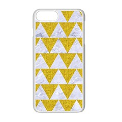 Triangle2 White Marble & Yellow Denim Apple Iphone 7 Plus Seamless Case (white) by trendistuff