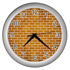 Brick1 White Marble & Yellow Grunge Wall Clocks (silver)  by trendistuff