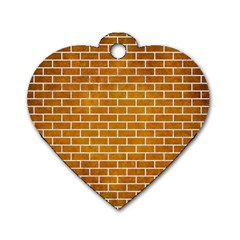 Brick1 White Marble & Yellow Grunge Dog Tag Heart (two Sides) by trendistuff