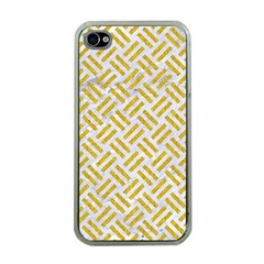 Woven2 White Marble & Yellow Denim (r) Apple Iphone 4 Case (clear) by trendistuff