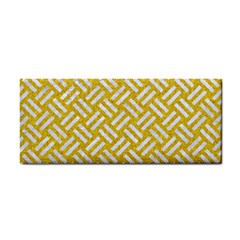 Woven2 White Marble & Yellow Denim Cosmetic Storage Cases by trendistuff
