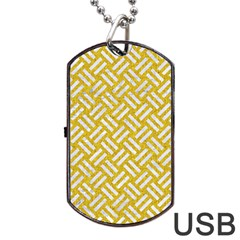 Woven2 White Marble & Yellow Denim Dog Tag Usb Flash (one Side) by trendistuff