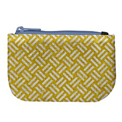 Woven2 White Marble & Yellow Denim Large Coin Purse by trendistuff