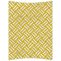 Woven2 White Marble & Yellow Denim Back Support Cushion by trendistuff