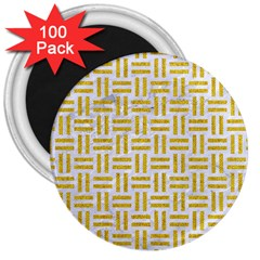 Woven1 White Marble & Yellow Denim (r) 3  Magnets (100 Pack) by trendistuff
