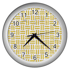 Woven1 White Marble & Yellow Denim (r) Wall Clocks (silver)  by trendistuff