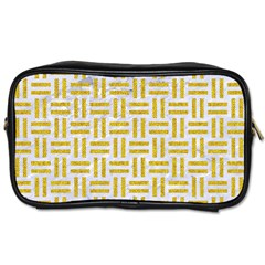 Woven1 White Marble & Yellow Denim (r) Toiletries Bags 2 Side by trendistuff