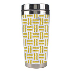 Woven1 White Marble & Yellow Denim (r) Stainless Steel Travel Tumblers by trendistuff