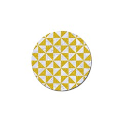 Triangle1 White Marble & Yellow Denim Golf Ball Marker (10 Pack) by trendistuff