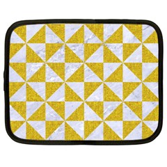 Triangle1 White Marble & Yellow Denim Netbook Case (xxl)  by trendistuff