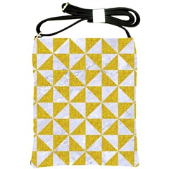 Triangle1 White Marble & Yellow Denim Shoulder Sling Bags by trendistuff