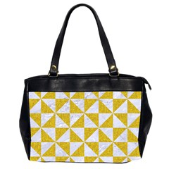 Triangle1 White Marble & Yellow Denim Office Handbags (2 Sides)  by trendistuff