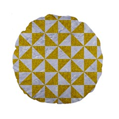 Triangle1 White Marble & Yellow Denim Standard 15  Premium Round Cushions by trendistuff