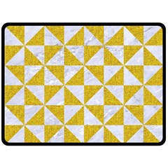 Triangle1 White Marble & Yellow Denim Double Sided Fleece Blanket (large)  by trendistuff