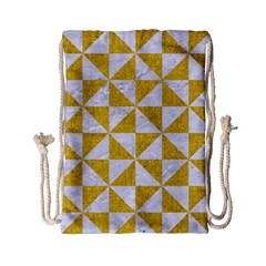 Triangle1 White Marble & Yellow Denim Drawstring Bag (small) by trendistuff