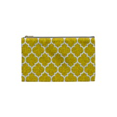 Tile1 White Marble & Yellow Denim Cosmetic Bag (small)  by trendistuff