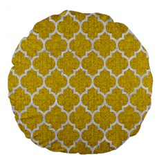 Tile1 White Marble & Yellow Denim Large 18  Premium Flano Round Cushions by trendistuff