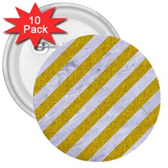 Stripes3 White Marble & Yellow Denim (r) 3  Buttons (10 Pack)  by trendistuff