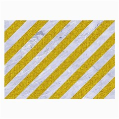 Stripes3 White Marble & Yellow Denim (r) Large Glasses Cloth by trendistuff