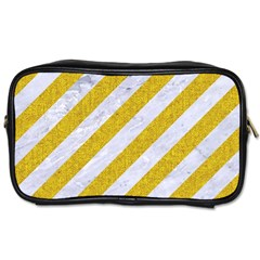 Stripes3 White Marble & Yellow Denim (r) Toiletries Bags 2 Side by trendistuff