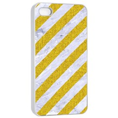 Stripes3 White Marble & Yellow Denim (r) Apple Iphone 4/4s Seamless Case (white) by trendistuff