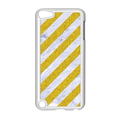 Stripes3 White Marble & Yellow Denim (r) Apple Ipod Touch 5 Case (white) by trendistuff