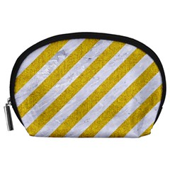 Stripes3 White Marble & Yellow Denim (r) Accessory Pouches (large)  by trendistuff