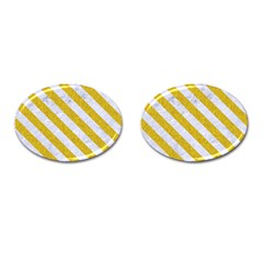 Stripes3 White Marble & Yellow Denim Cufflinks (oval) by trendistuff
