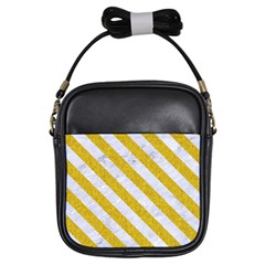 Stripes3 White Marble & Yellow Denim Girls Sling Bags by trendistuff