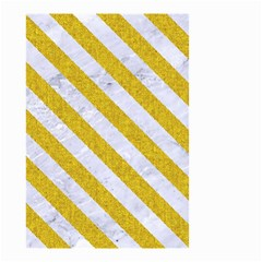 Stripes3 White Marble & Yellow Denim Small Garden Flag (two Sides) by trendistuff