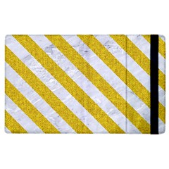 Stripes3 White Marble & Yellow Denim Apple Ipad 2 Flip Case by trendistuff