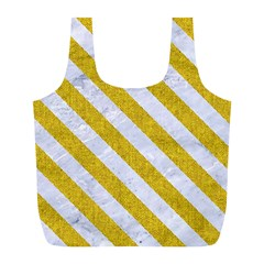 Stripes3 White Marble & Yellow Denim Full Print Recycle Bags (l)  by trendistuff