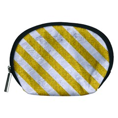 Stripes3 White Marble & Yellow Denim Accessory Pouches (medium)  by trendistuff