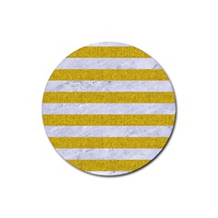 Stripes2white Marble & Yellow Denim Rubber Round Coaster (4 Pack)  by trendistuff