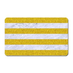 Stripes2white Marble & Yellow Denim Magnet (rectangular) by trendistuff