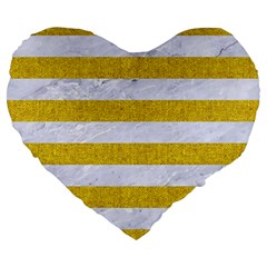 Stripes2white Marble & Yellow Denim Large 19  Premium Heart Shape Cushions by trendistuff