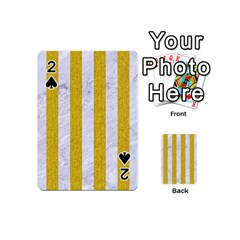 Stripes1 White Marble & Yellow Denim Playing Cards 54 (mini)  by trendistuff