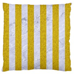 Stripes1 White Marble & Yellow Denim Large Cushion Case (two Sides) by trendistuff