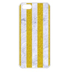 Stripes1 White Marble & Yellow Denim Apple Iphone 5 Seamless Case (white) by trendistuff