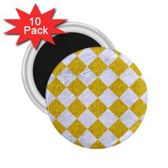 Square2 White Marble & Yellow Denim 2 25  Magnets (10 Pack)  by trendistuff