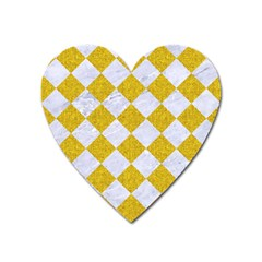 Square2 White Marble & Yellow Denim Heart Magnet by trendistuff