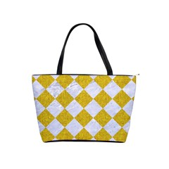 Square2 White Marble & Yellow Denim Shoulder Handbags by trendistuff