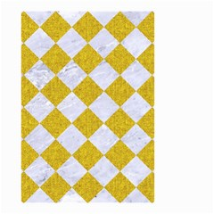 Square2 White Marble & Yellow Denim Small Garden Flag (two Sides) by trendistuff