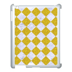 Square2 White Marble & Yellow Denim Apple Ipad 3/4 Case (white) by trendistuff